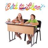 Miúdos com de volta ao tema da escola isolado no branco Imagens de Stock Royalty Free