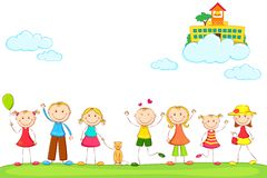 Miúdos com a escola na nuvem Fotos de Stock Royalty Free