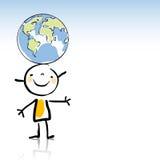 Miúdos com globo Imagens de Stock Royalty Free
