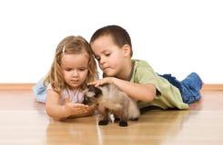 Miúdos com seu gatinho no assoalho imagens de stock
