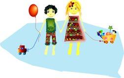 Miúdos com seus brinquedos Ilustração Royalty Free