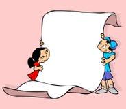 Miúdos com um poster Imagem de Stock Royalty Free