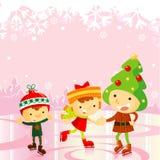 Miúdos da patinagem de gelo: feriado do Natal Imagem de Stock
