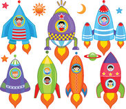 Miúdos dentro da nave espacial, nave espacial Fotos de Stock