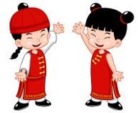 Miúdos do chinês dos desenhos animados Imagens de Stock