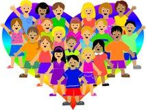 Miúdos do coração do arco-íris Fotografia de Stock Royalty Free