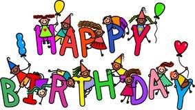 Miúdos do feliz aniversario ilustração stock
