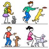 Miúdos dos desenhos animados com animais de estimação Imagem de Stock Royalty Free