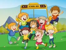 Miúdos e auto escolar ilustração stock