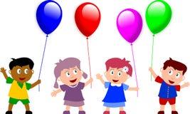Miúdos e balões ilustração stock
