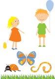 Miúdos e insetos Fotografia de Stock