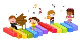 Miúdos e música ilustração do vetor