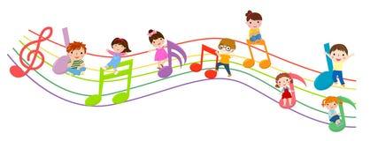 Miúdos e música ilustração stock