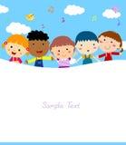Miúdos e quadro Foto de Stock