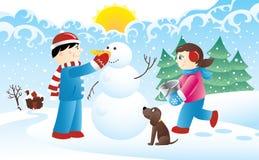 Miúdos e um boneco de neve Fotos de Stock