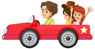 Miúdos e um carro ilustração royalty free