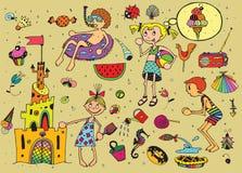 Miúdos em férias de verão ilustração stock