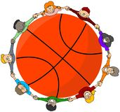 Miúdos em torno de um basquetebol ilustração do vetor