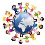 Miúdos em torno do mundo Imagens de Stock Royalty Free