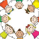 Miúdos em um círculo ilustração do vetor