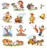 Miúdos engraçados em um fundo branco Imagens de Stock Royalty Free