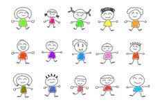Miúdos felizes bonitos dos desenhos animados Imagens de Stock Royalty Free