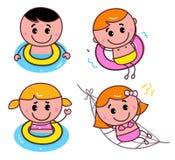 Miúdos felizes da natação do Doodle ajustados ilustração stock
