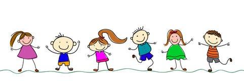 Miúdos felizes dos desenhos animados ilustração stock
