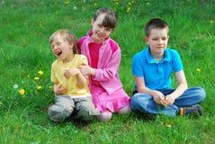 miúdos felizes em um prado Fotografia de Stock Royalty Free
