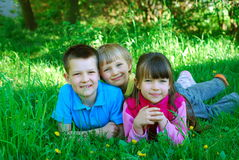 Miúdos felizes na grama Fotos de Stock Royalty Free