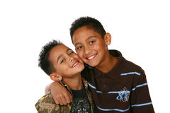 Miúdos felizes no branco fotos de stock