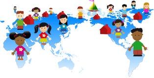 Miúdos globais Fotografia de Stock Royalty Free