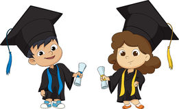 Miúdos graduados felizes ilustração do vetor