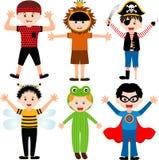 Miúdos masculinos dos desenhos animados nos trajes Imagem de Stock
