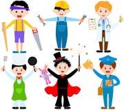 Miúdos masculinos dos desenhos animados nos trajes Foto de Stock Royalty Free