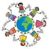 Miúdos, mundo, EURO de paz-ÁFRICA ilustração do vetor