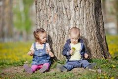Miúdos na floresta Imagens de Stock Royalty Free