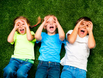 Miúdos na grama Foto de Stock