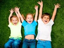 Miúdos na grama Fotos de Stock