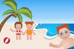 Miúdos na praia ilustração stock
