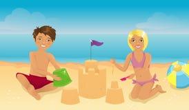 Miúdos na praia ilustração do vetor