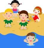 Miúdos na praia ilustração royalty free