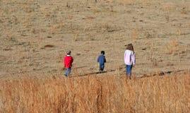 Miúdos no campo fotografia de stock