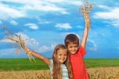 Miúdos no campo de trigo Foto de Stock Royalty Free