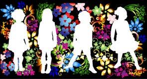 Miúdos no fundo floral Imagem de Stock