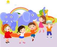 Miúdos no jardim zoológico ilustração royalty free