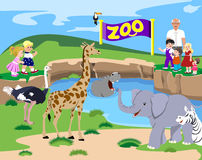 Miúdos no jardim zoológico Fotografia de Stock Royalty Free
