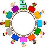 Miúdos no logotipo do trem Imagens de Stock