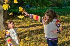 Miúdos no parque do outono Fotos de Stock