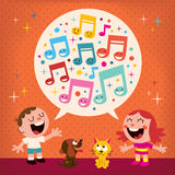Miúdos que cantam Imagem de Stock Royalty Free